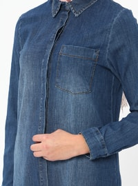 Blue - Navy Blue - Point Collar - Cotton - Denim - Tunic