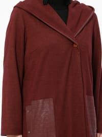 Maroon - Fully Lined - V neck Collar - Plus Size Coat