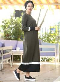 Haki - Yuvarlak yakalı - Astarsız - Pamuklu - Akrilik - File - Elbise