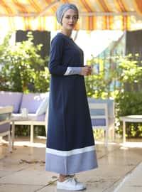 Navy Blue - Crew neck - Unlined - Cotton - Acrylic -  - Dresses