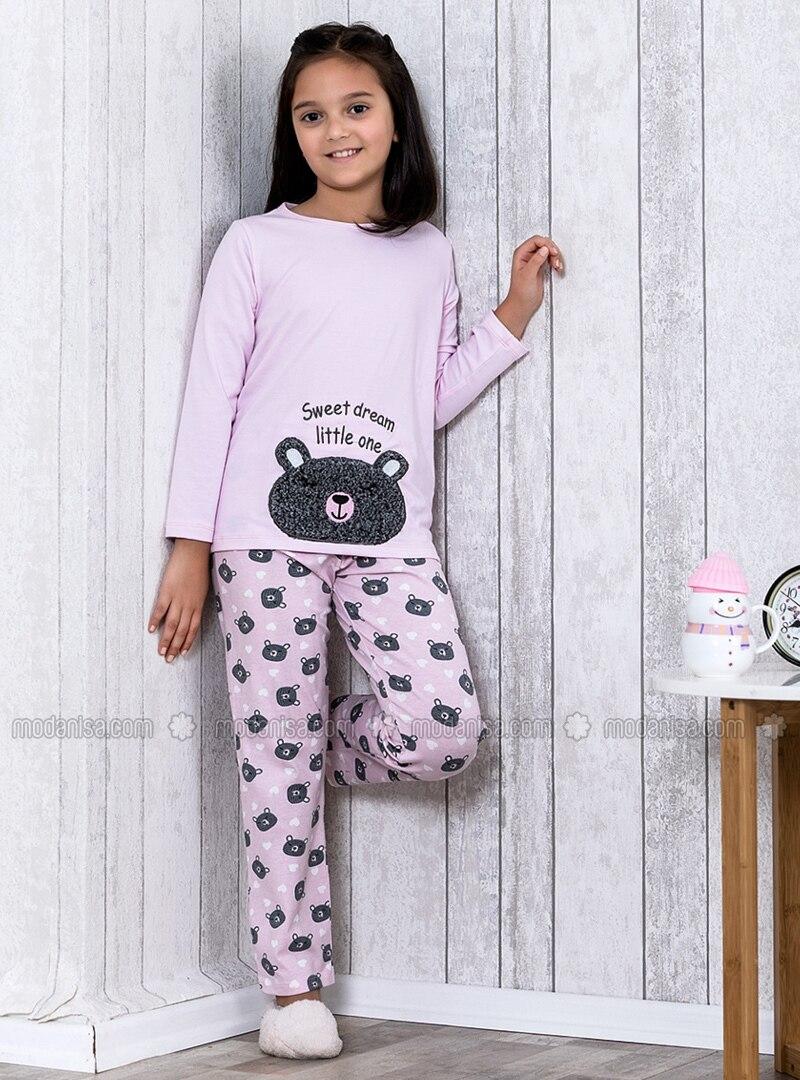 style actuel nouveau design nouvelle version Rose - Col rond - Multicolore - Pyjama pour fille