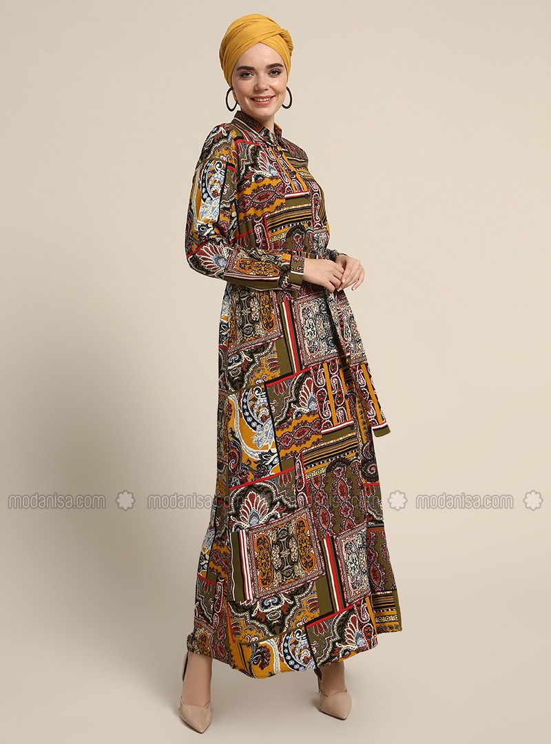 Yellow - Khaki - Multi - Point Collar - Unlined - Cotton - Dresses