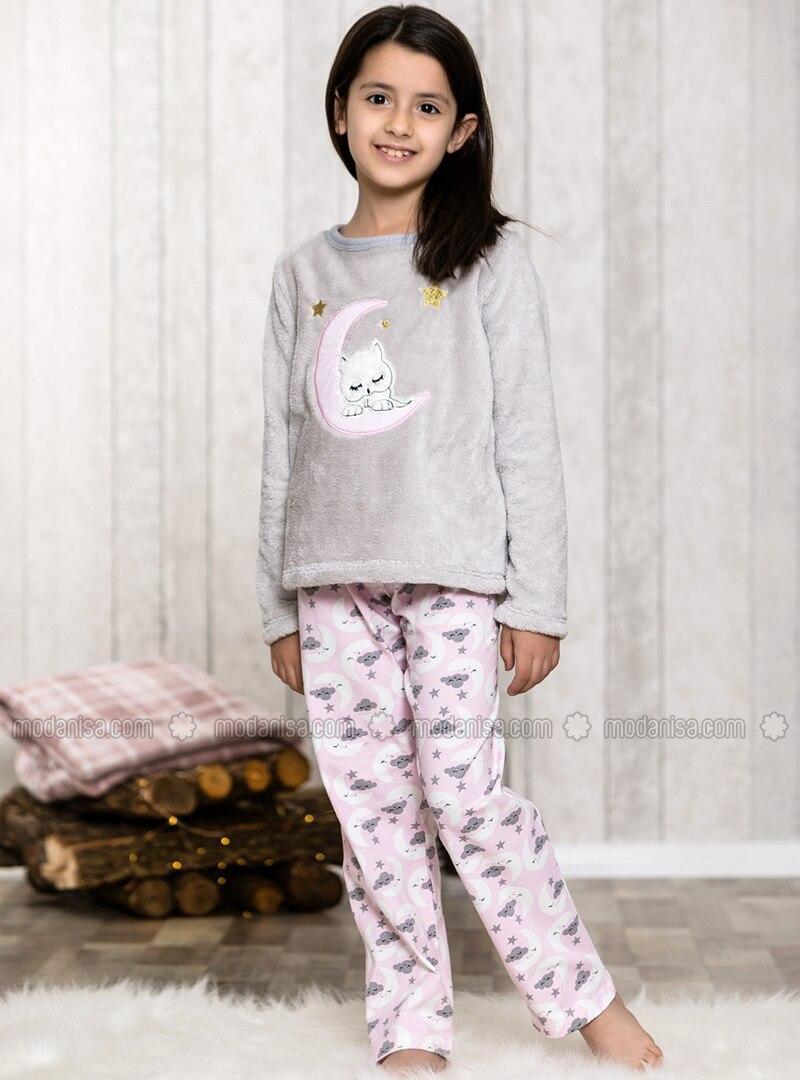 Super remise magasiner pour authentique nouveaux prix plus bas Gris - Col rond - Multicolore - Pyjama pour fille