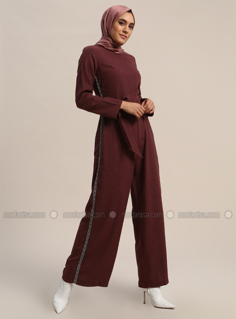 Maroon - Unlined - Crew neck - Cotton - Jumpsuit
