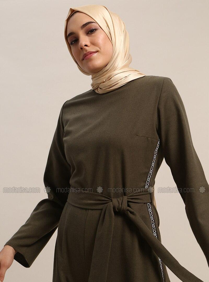 f59f6a88bdd Khaki - Unlined - Crew neck - Cotton - Jumpsuit