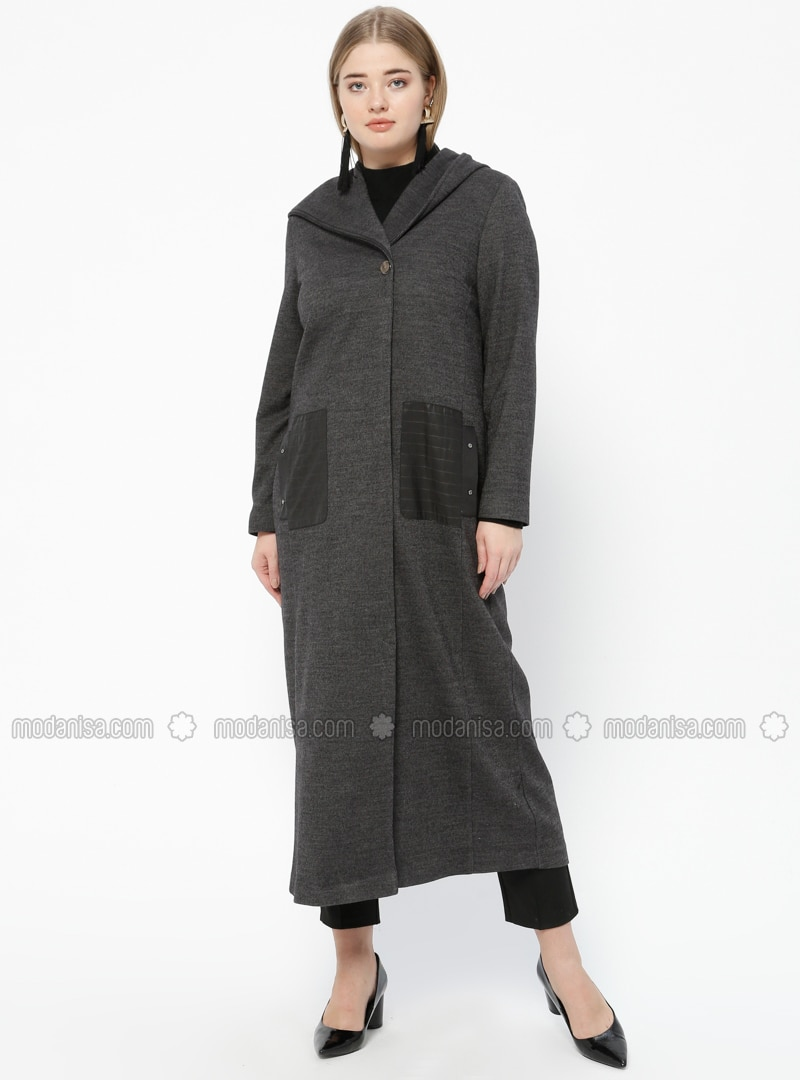 Gray - Fully Lined - V neck Collar - Plus Size Coat
