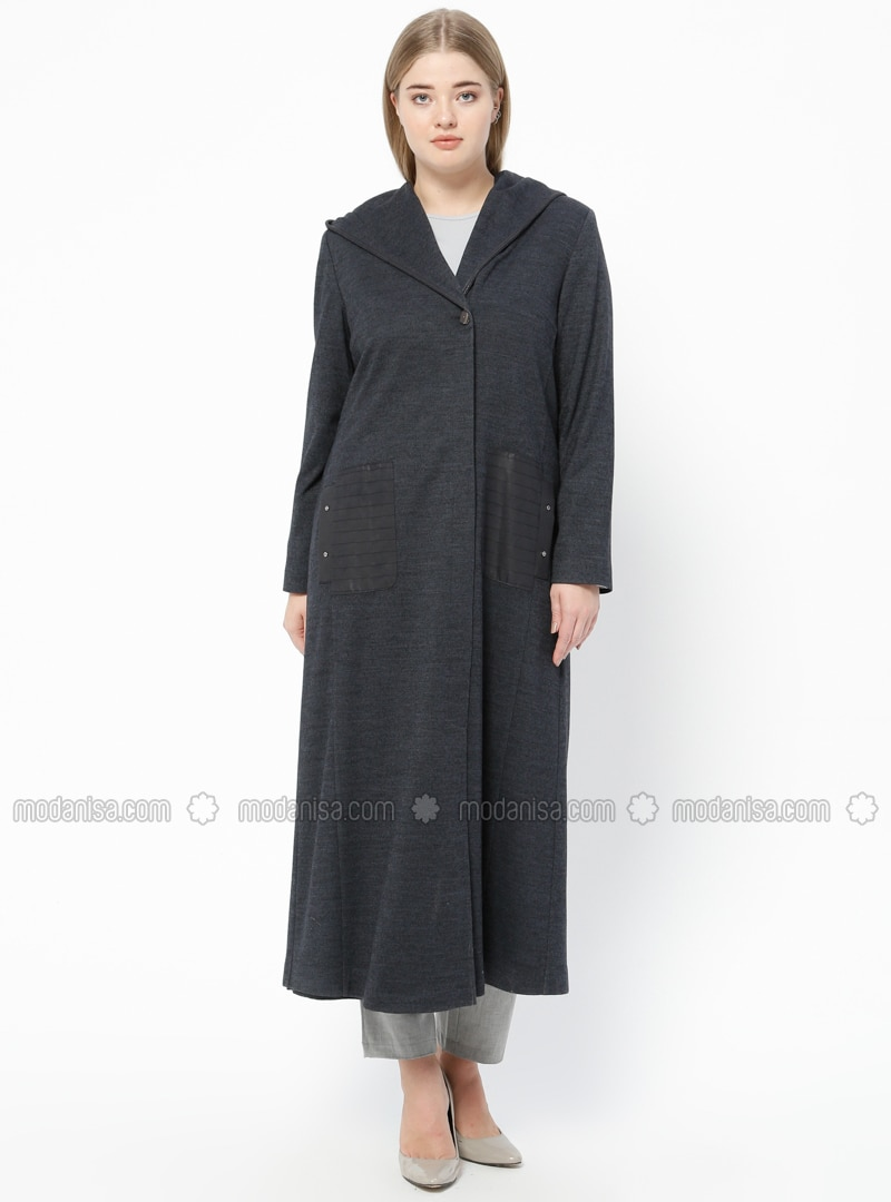 Navy Blue - Fully Lined - V neck Collar - Plus Size Coat