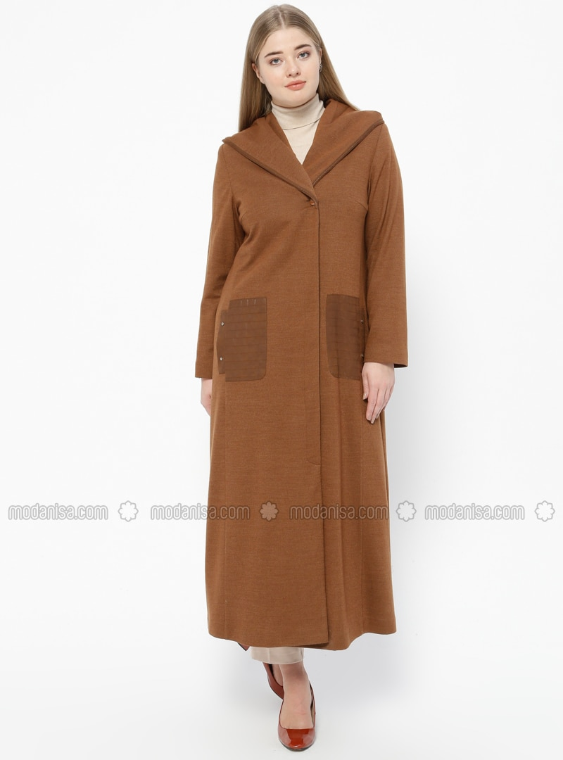 Tan - Fully Lined - V neck Collar - Plus Size Coat