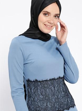 Baby Blue - Crew neck - Unlined - Dresses