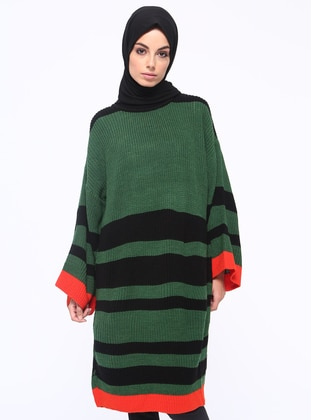 Green - Black - Stripe - Crew neck - Acrylic - Tunic