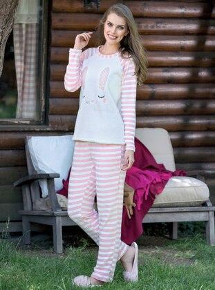 Pink - Ecru - Crew neck - Stripe - Pyjama