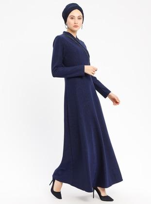 Navy Blue - V neck Collar - Unlined - Dresses