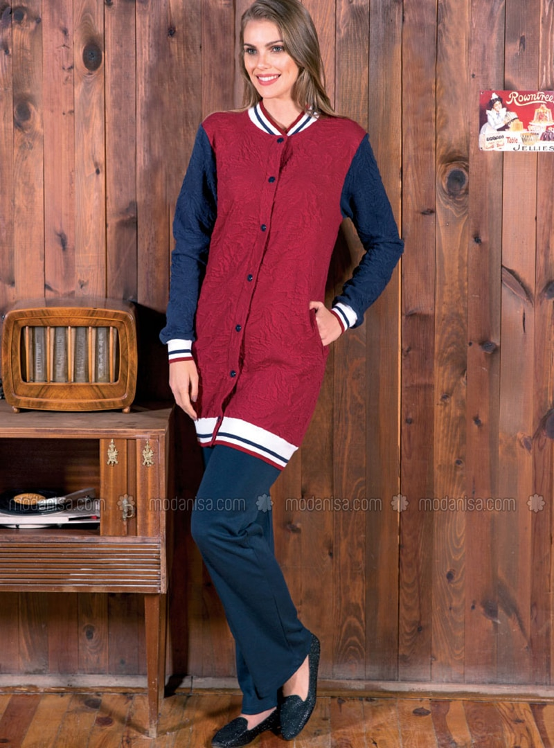 Maroon - Button Collar - Multi - Pyjama
