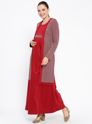 Maroon - Crew neck - Unlined - Viscose - Maternity Dress - Havva Ana
