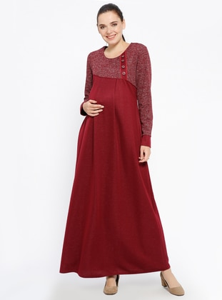 Maroon - Crew neck - Unlined - Viscose - Maternity Dress
