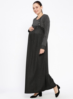 Black – Crew Neck – Unlined – Viscose – Maternity Dress – Havva Ana