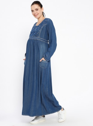 Blue - Crew neck - Unlined - Denim - Maternity Dress - Havva Ana