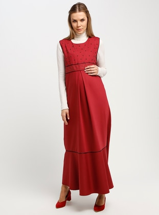Maroon - Crew neck - Unlined - Maternity Dress