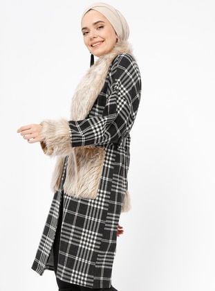 Black - Minc - Plaid - V neck Collar - Cardigan