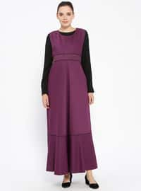 Purple - Crew neck - Unlined - Maternity Dress