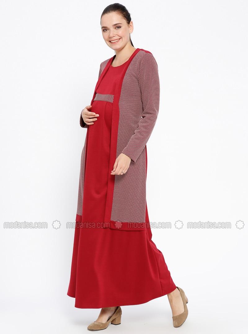 06090b75461c1 Maroon - Crew neck - Unlined - Viscose - Maternity Dress. Fotoğrafı  büyütmek için tıklayın