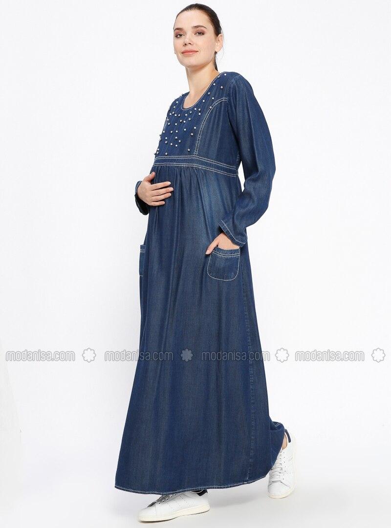 8951913ba79 Blue - Navy Blue - Crew neck - Unlined - Denim - Maternity Dress. Fotoğrafı  büyütmek için tıklayın