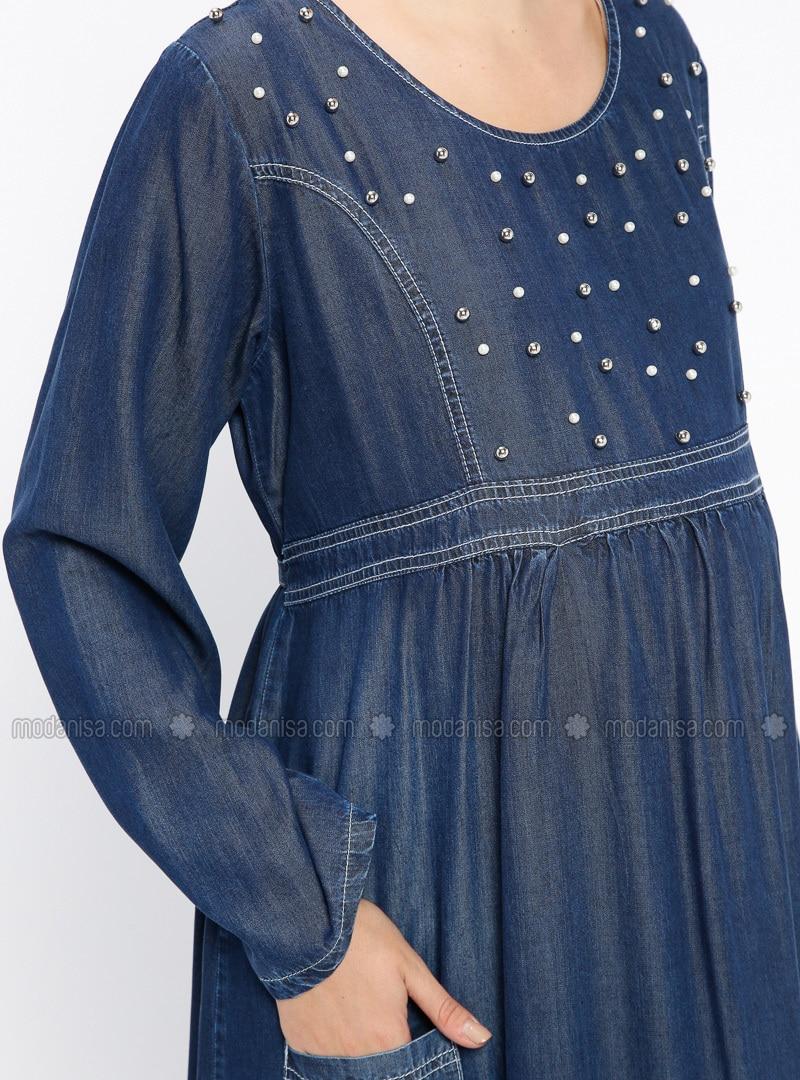 4f9faa8a1a1 Blue - Navy Blue - Crew neck - Unlined - Denim - Maternity Dress
