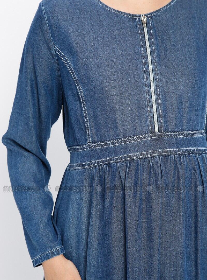 ffe2a0efd46 Blue - Crew neck - Unlined - Denim - Maternity Dress