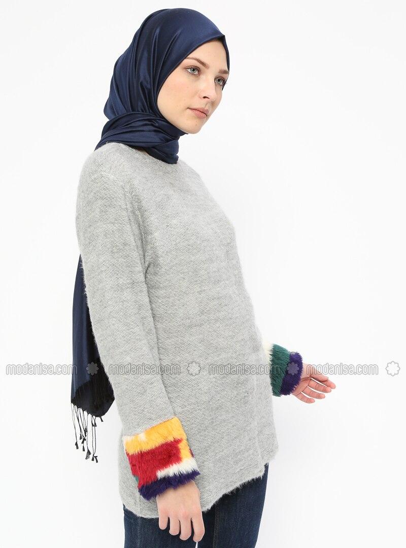 Gray - Crew neck - Cotton - Blouses