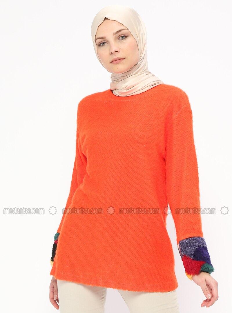 Orange - Crew neck - Cotton - Blouses