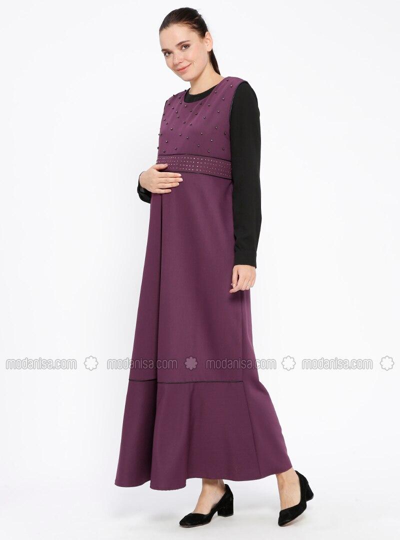 Plum - Crew neck - Unlined - Maternity Dress