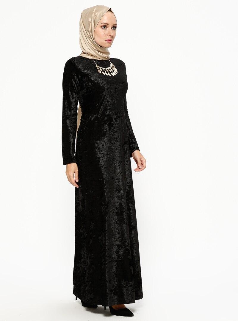 Tesettür Elbise MEKSİLA Siyah Kadın 40