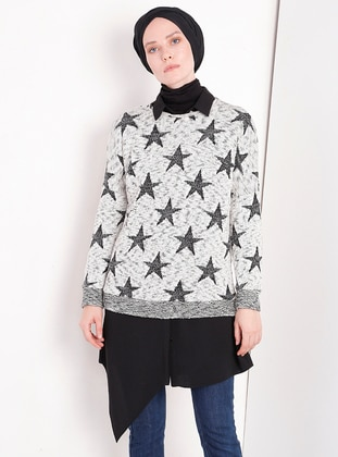 Gray - Multi - Crew neck - Jumper - MisCats