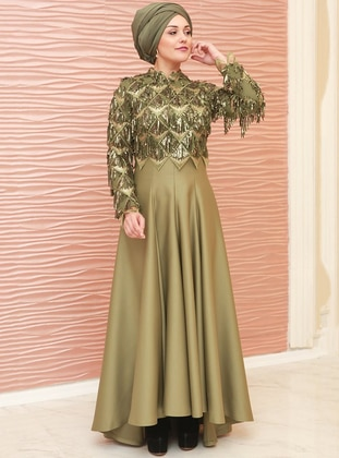 Khaki - Fully Lined - Crew neck - Satin - Muslim Evening Dress