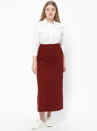 Maroon - Unlined - Denim - Plus Size Skirt
