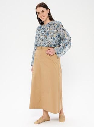 Camel - Unlined - Denim - Plus Size Skirt