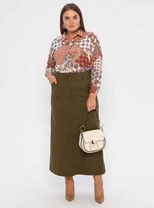 Khaki - Unlined - Denim - Plus Size Skirt