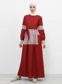 Maroon - Stripe - Crew neck - Unlined - Cotton - Dresses