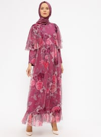 Pink - Fuchsia - Floral - Fully Lined - Crew neck - Muslim Evening Dress