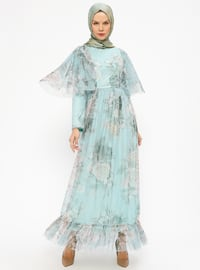 Mint - Floral - Fully Lined - Crew neck - Muslim Evening Dress