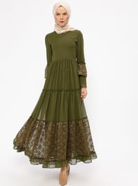 Khaki - Crew neck - Fully Lined - Dresses