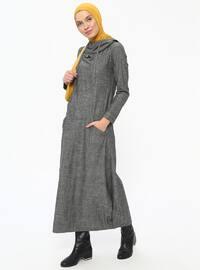 Gray - Unlined - Cotton - Dresses