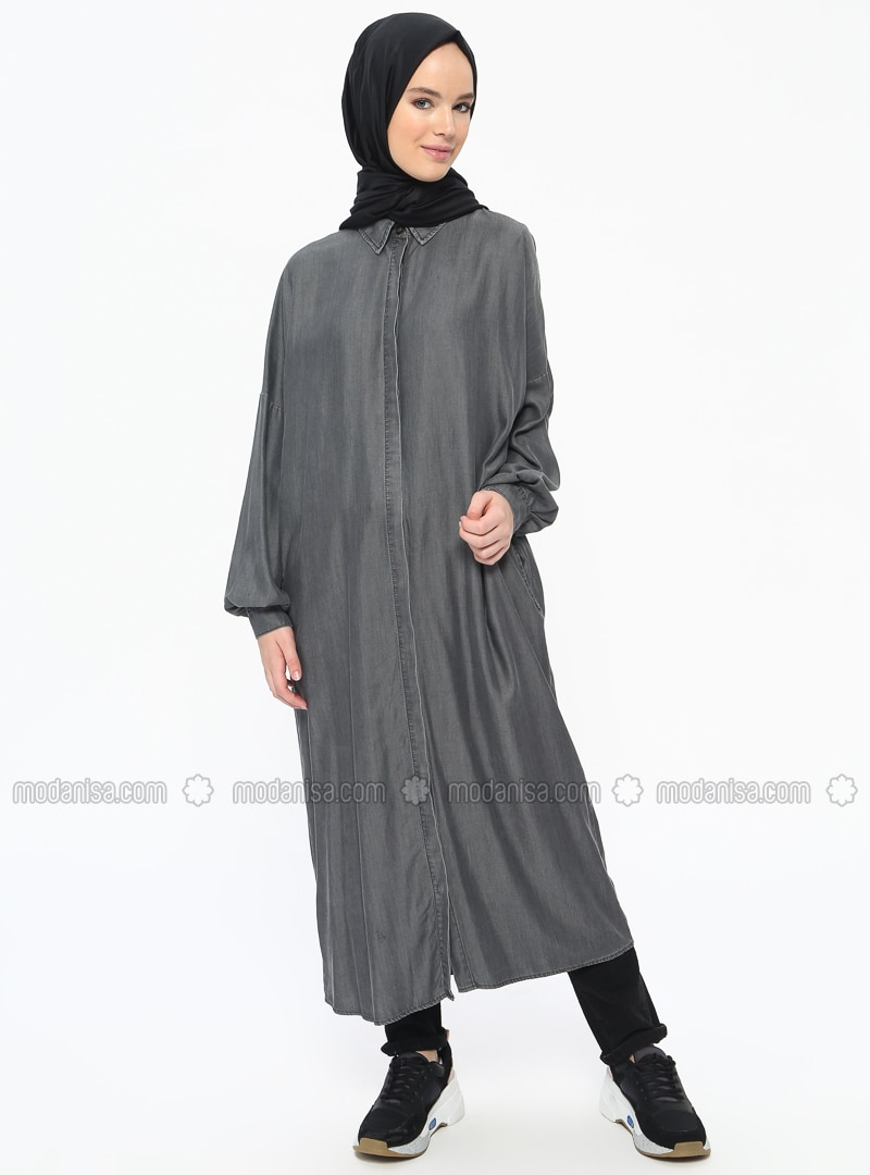 Gray - Point Collar - Denim - Tunic