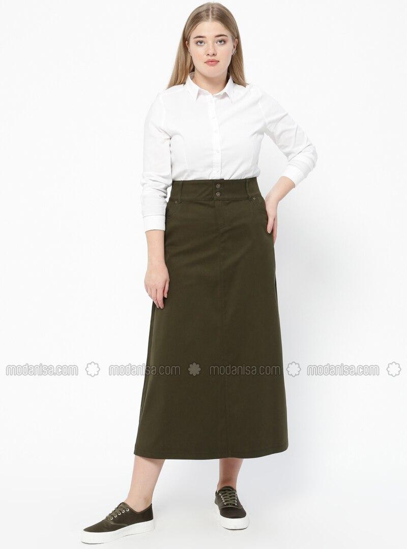 Green - Unlined - Denim - Plus Size Skirt