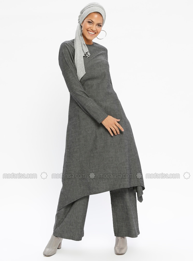 Gray - Unlined - Cotton - Suit