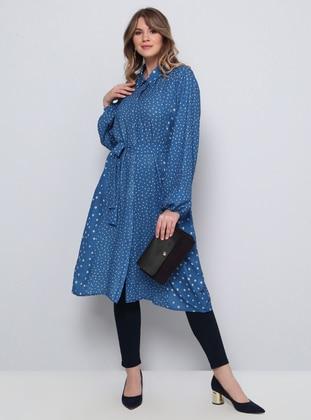 Indigo - Polka Dot - Point Collar - Plus Size Tunic