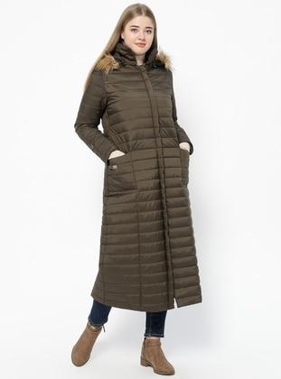 Khaki - Fully Lined - Plus Size Coat - Hanımsa