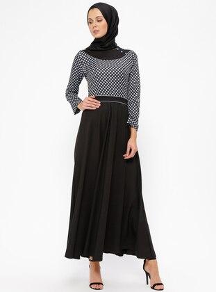 Puantiyeli Elbise - Siyah Mavi - BÜRÜN Ürün Resmi