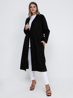 Black - Unlined - Shawl Collar - Plus Size Coat - Alia