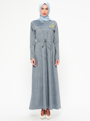 Blue - Indigo - Point Collar - Unlined - Dresses